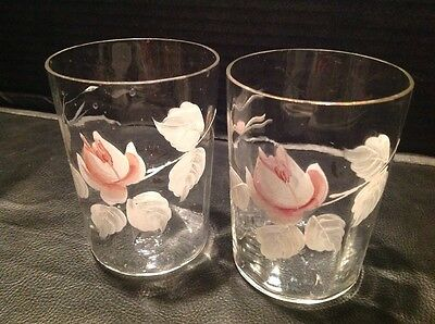 Two Victorian Glass Hand Painted Flower Enameled Paneled Tumblers Shabby Chic