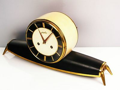 A DREAM LATER ART DECO  JUNGHANS  CHIMING MANTEL CLOCK  FROM 50´S with LEATHER