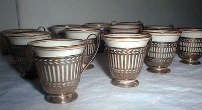 12 Sterling Silver Demitasse Cups With Lenox Liners