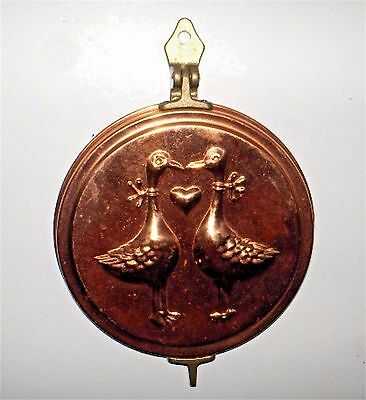 Vintage Copper Brass Mold Wall Hanging Hidden Keys Holder Country Geese Heart