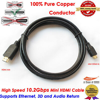 6FT 4K HDMI to Mini HDMI Type C Cable Adapter 1080p Mini 5 Pin B USB for HDTV DV