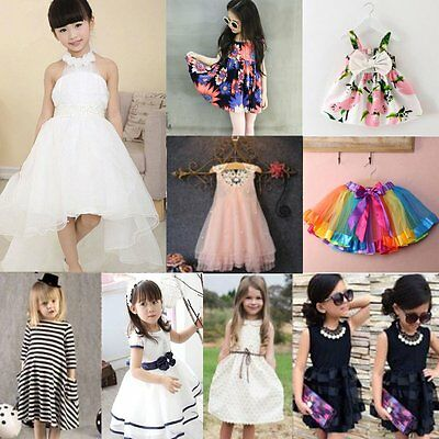 Toddler Kids Baby Girls Flower Princess Dress Party Pageant Wedding Tutu Dresses