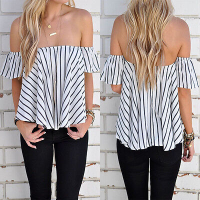 Summer Womens Ladies Casual Off the Shoulder Tops Tank Lesiure T-Shirt Blouse