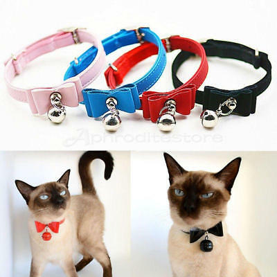 Cat Collar kitten velvet bow tie safety elastic Free Post 6 colours Bowtie Bell