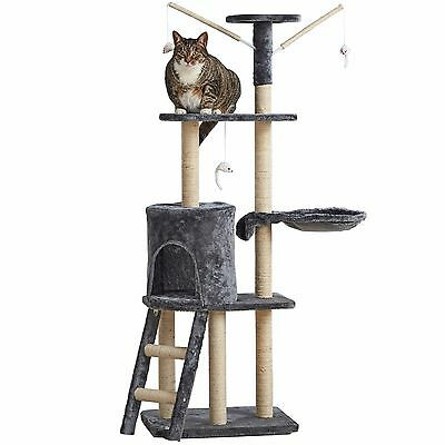 Milo & Misty Cat Scratcher Sisal Scratching Post Pet Play Tower & Cat Toys Grey
