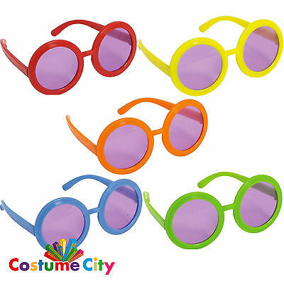 10 Adults Feeling Groovy Round Glasses 1960s 60s Fancy Dress Costume Accessory