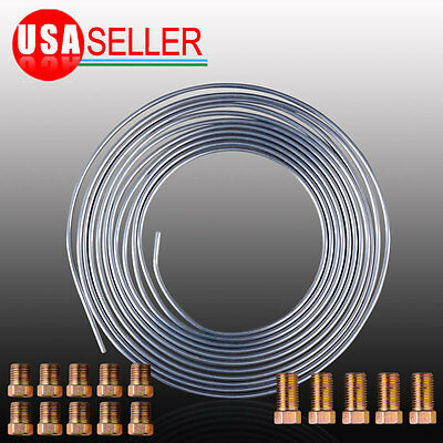 "Silver 3/16"" OD x 25 Ft Roll With 15 Assort Fittgs  Zinc Brake Line Tubing Kit"