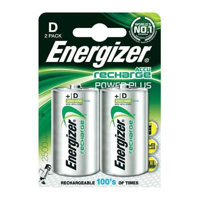 2 Pack Energizer ACCU D Cell MN1300 NiMH Rechargeable Batteries 2500mAh