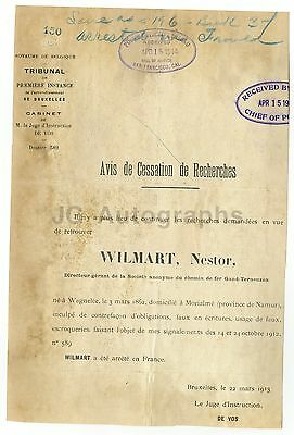 Crime Notice - Nestor Wilmart/Forgery and Fraud - France - 1913