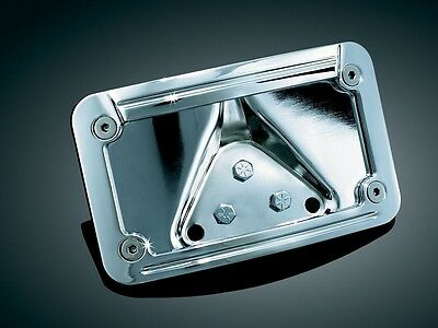 Curved Laydown License Plate Mount with Frame Kuryakyn Lit Chrome 3138