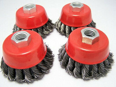 "4 x  3"" Knot Cup Brush 5/8-11nc angle grinder wire"