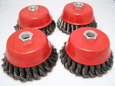 """4 x  4"""" Knot Cup Brush 5/8-11nc angle grinder wire"""