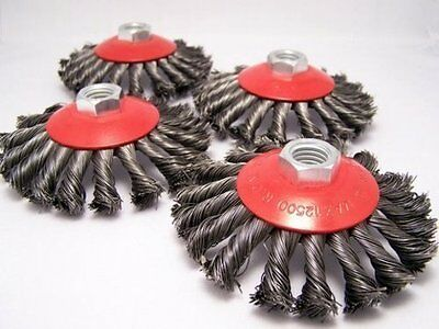 """4 x 4.5"""" Knot Conical Wire Brush 5/8-11nc angle grinder"""