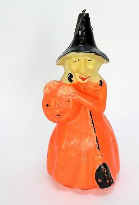 """Early Gurley Halloween Witch Holding Pumpkin Wax Candle  8"""" - As Is"""