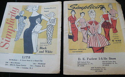 TWO VTG 1950s SIMPLICITY PATTERN CATALOG FLIERS 1957