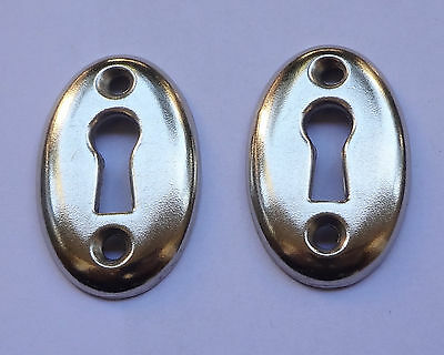 Lot 2 Vintage Stamped Iron Keyhole covers Escutcheons New Old Stock Free Shiping