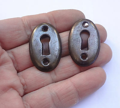 Lot 2 Vintage Stamped Iron Keyhole covers BROWN Colour New Old Stock Free S/H