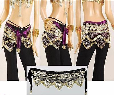 US 320# Belly Dance Costume Coins Belt Chain Tribal Velvet Hip Scarf Skirt Wrap
