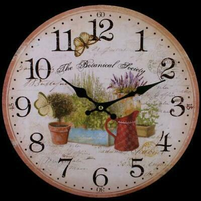 Large Vintage Shabby Chic Lavender Summer Flowers Garden Style Wooden Wall Clock
