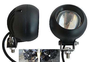 Pair 40W Watt Black Round Projector Spotlights for BMW R1150GS R1200GS Adventure