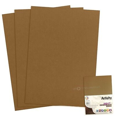 A4 160gsm Premium Chocolate Brown Coloured Craft Card - 50 Sheets 52684