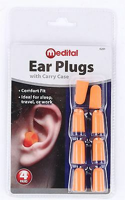 Top Quality 4 Pairs Easy Fits Earplugs Noise Prevention Travel Sleep Use