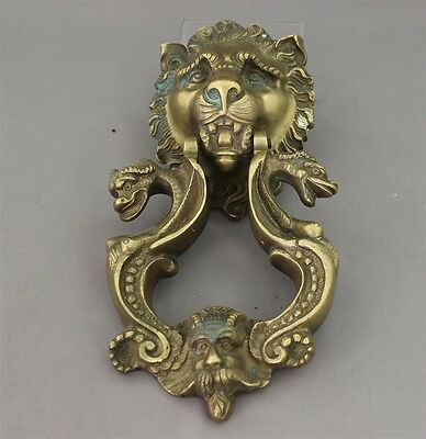 Antique Vintage Lion Head Door Knocker Heavy Ornate Solid Brass Large Detailed