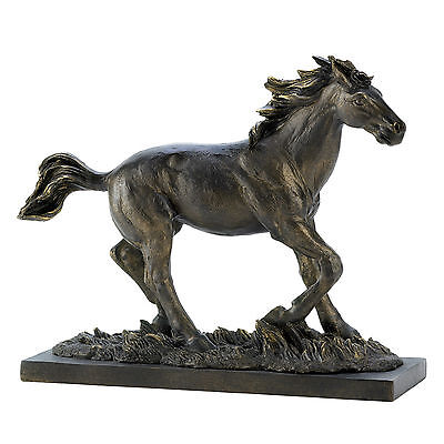 HORSES: Rustic Running Wild Stalion Polystone Western Horse Statue NEW