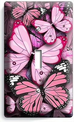 Pink Butterflies Single Light Switch Wall Plate Baby Girl Room Nursery Art Decor