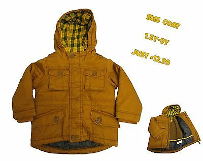 Boys Coat Quilted Fleece Lined Hooded Winter Warm Kids Baby 12m-9y Ex BHS