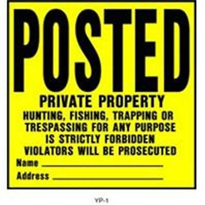 Hy-Ko Products 361935 Posted Private Property Sign, Yellow & Black