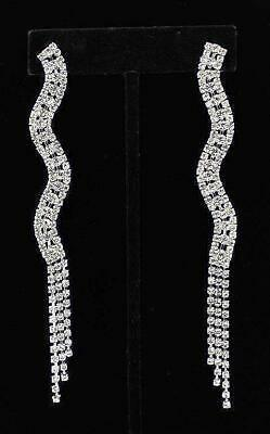 """4.5"""" Long Clear Crystal Chain Earrings Dangle Special Occasion Chandelier New"""