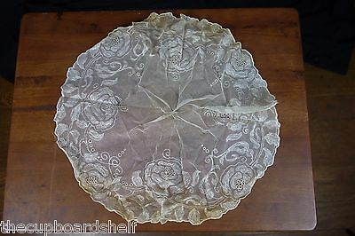 vintage antique round delicate lace doily 14 inches