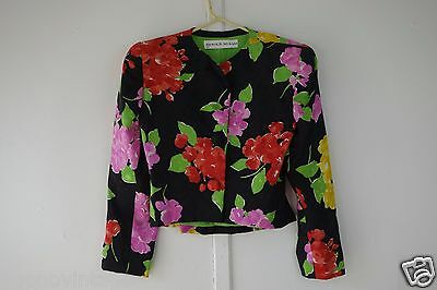 Vintage 80's Arnold Scaasi silk floral jacket large print red black green S to M