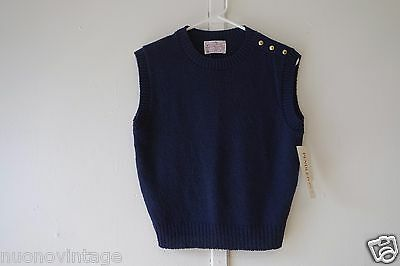 Vintage  Navy blue petite small Women's Pendleton vest wool gold buttons NWT