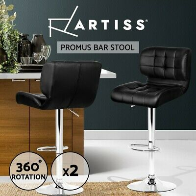 2x Bar Stools PU Leather Chrome Kitchen Barstool Chair Gas Lift Black 4059