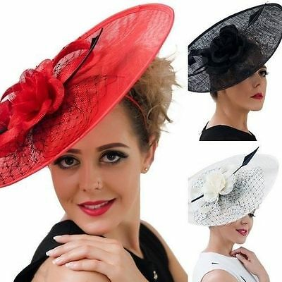 Large Ture Feather Aliceband Hat Fascinator Wedding Ladies Day Race Royal Ascot