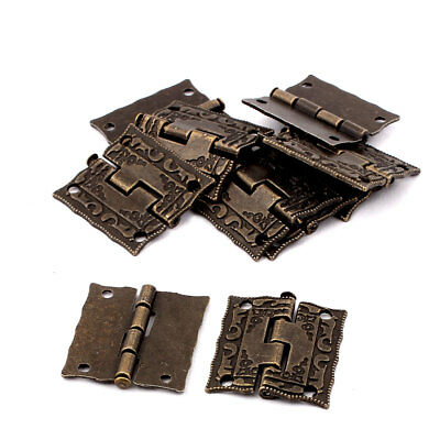 Antique Style Case Jewelry Box Drawer Cabinet Butt Hinges Bronze Tone 10PCS