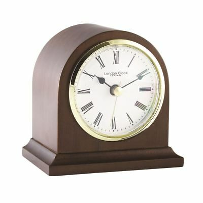London Clock Co 13cm Dunkles Holz Bogen TOP Kaminsims Uhr