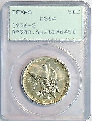 1936 S US 50C Texas Silver Half Dollar Coin PCGS MS 64 OGH RATTLER UPGRADE LV102