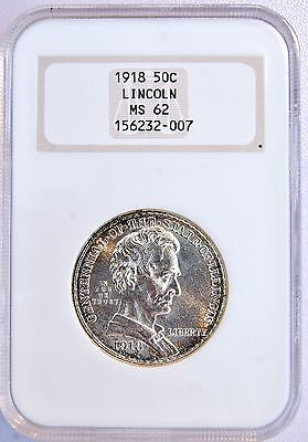 1918 US 50C Lincoln IL Silver Half Dollar Coin NGC MS 62 Old Fatty Holder LV114