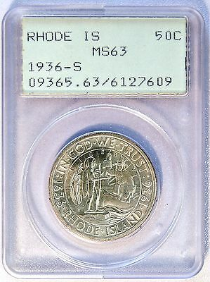 1936 S US 50C Rhode Island Comm Silver 1/2 Dollar PCGS MS 63 OLD RATTLER UPGRADE