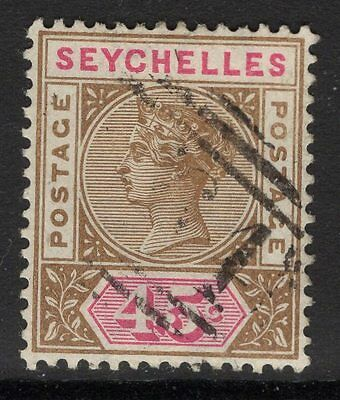 SEYCHELLES SG25 1892 45c BROWN & CARMINE USED