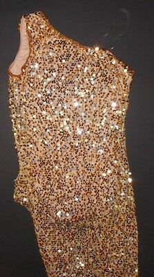 NWT Gold Silver Sequin Asymmetrical dress over nude leotard ch/ladies sizes