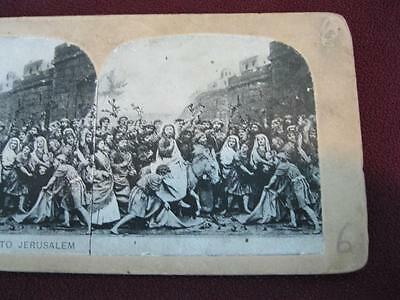 Stereoview Christian Christianity Bible Scene Jesus Entry To Jerusalem (O) AS IS