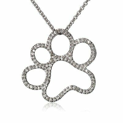 Cute Crystal Silver Tone Animal Dog Paw Footprints Pendant Necklace Chain Women
