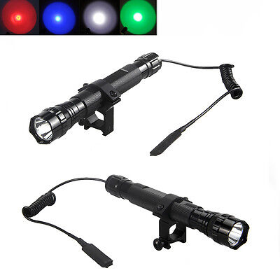 5000Lm CREE T6 GREEN LED Tactical Flashlight Torch Mount Hunting Rifle Gun Light