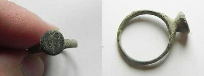ZURQIEH -as1495- BYZANTINE BRONZE RING. 7TH CENT. A.D