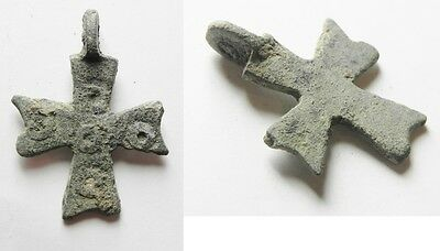 ZURQIEH -as1493- BYZANTINE BRONZE CROSS. 7TH CENT. A.D