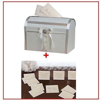 Elegant Well Wishing Wedding Party Card Box With 48 Country Lace Guest Cards